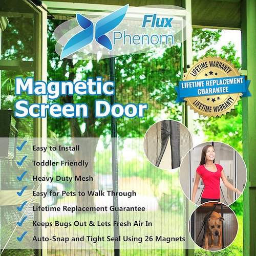 1. Flux Phenom Reinforced Magnetic Screen Door, Fits Door Up To 38 x 82-Inch