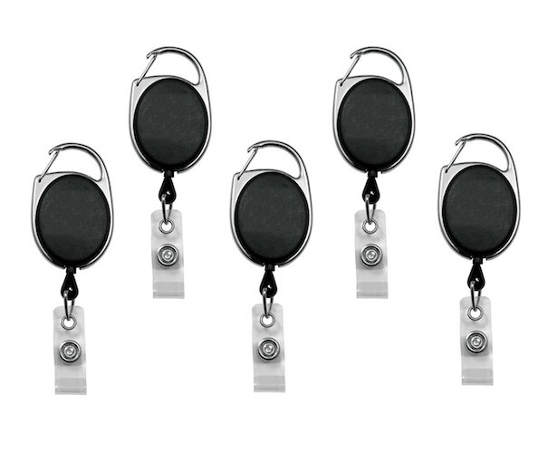 1. Retractable Badge Holder Carabineer Reel Clip On ID Card Holders Pack of 5