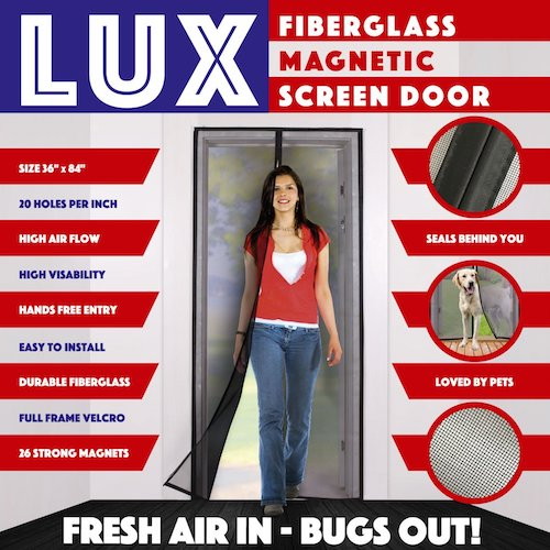 6. Magnetic Screen Door New 2017 Design Full Frame Velcro & Fiberglass Mesh Not Nylon This Instant Retractable Bug Screen Opens and Closes like Magic it's the Last Screen You'll Need
