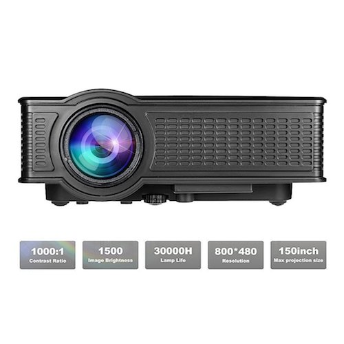 10. ROFISA LCD Mini Portable HD 1080P LED Multimedia Projector, 1500 Lumen Home Theater With USB SD HDMI AV VGA for Movie Party Games Home Entertainment