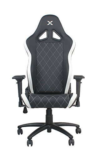 Best Comfortable Ergonomic Gaming Chairs: 9. Ferrino Line White on Black Diamond Patterned Gaming and Lifestyle Chair by Rapidx