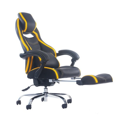 Best Comfortable Ergonomic Gaming Chairs : 4. Merax Racing Style Executive PU Leather Swivel Chair with Footrest and Back Support Reclining (Yellow)