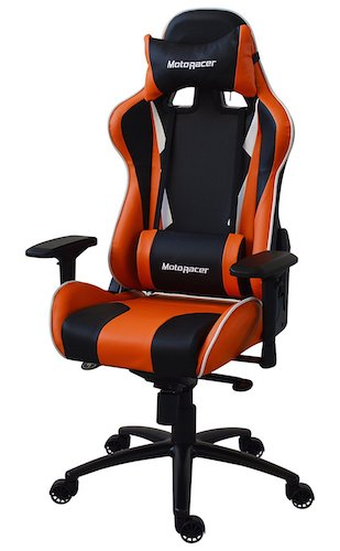 Best Comfortable Ergonomic Gaming Chairs : 6. MotoRacer Gaming Chair Player Edition | Multi-Function Mechanism | Adjustable Height, Seat & Back | Ergonomic Racing Style Chair For Video Games with Maximum Comfort | 4D Armrests | (Orange)
