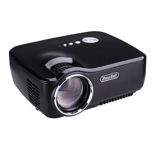 7. Projector, Hausbell Mini Portable Video LED Projector 1080P for Home Cinema Theater/Game/TV Show