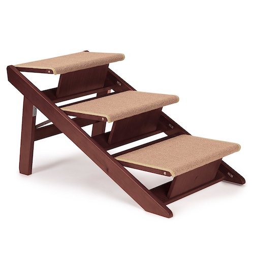 Best Folding Dog Stairs: 7. Pet Studio Pine Frame Dog Ramp-Steps