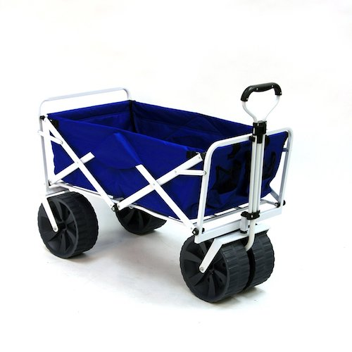 2. Mac Sports Heavy Duty Collapsible Folding All Terrain Utility Beach Wagon Cart, Blue/White