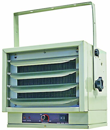 8. Comfort Zone CZ220 Industrial Steel Electric Ceiling Mount Heater, 3 Heat Levels up to 5,000 watts, White