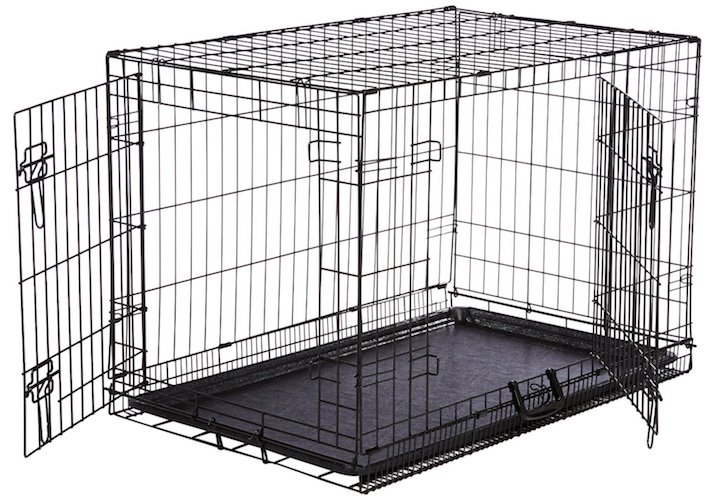 1. AmazonBasics folding metal dog crate