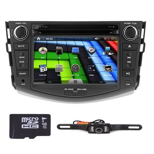 10. Rear view Backup Reversing Camera Included Hizpo Brand Toyota RAV4 2006 2007 2008 2009 2010 2011 2012 In Dash Double 2 Din Touch Screen GPS iPod DVD Navigation Radio Bluetooth Hands free iPod