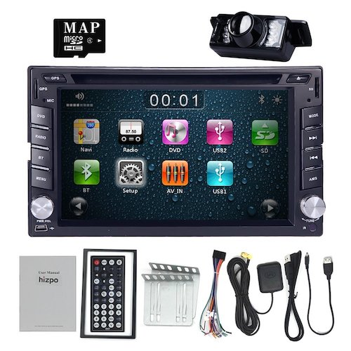 Best Touch Screen Car Stereo Radios: 2. HIZPO 6.2 Inch Universal Double 2 Din In Dash Car CD DVD Player GPS Stereo Radio BT USB IPOD RDS 3G + FREE MAP CARD + Reverse Camera