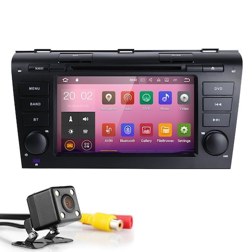 6. HIZPO 7 Inch Double Din In Dash HD Touch Screen Android 7.1 Car DVD Player GPS Navigation Stereo For Mazda 3 2004-2009 Support Navi/Bluetooth/SD/USB/FM/AM Radio/WIFI/DVR/1080P