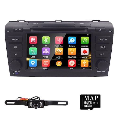 11. Hizpo 7 inch Double Din In Dash HD Touch Screen Car DVD Player GPS Navigation Stereo For Mazda 3 2004 2005 2006 2007 2008 2009 Support Navi/Bluetooth/SD/USB/FM/AM Radio/3G/DVD/1080P + Free Camera