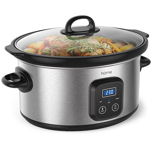Best Slow Cookers: 9. home 6 Quart Slow Cooker –Digital Programmable Crock Pot Slow Cooker 10 Hour Time Auto Shut Off and Food Warmer –Oval Crockpot Nonstick Removable Crock Stoneware and Stainless Steel External