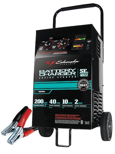 1. Schumacher SE-4022 2/10/40/200 Amp Manual Wheeled Battery Charger and Tester