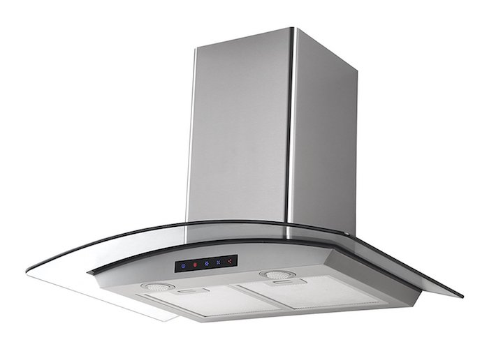 5. Kitchen Bath Collection HA75-LED Stainless Steel Wall-Mounted Kitchen Range Hood with Tempered Glass Canopy and Touch Screen Panel, 30