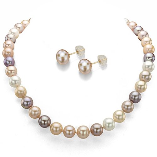 2. Multicolored Cultured Pearl Necklace and Earrings