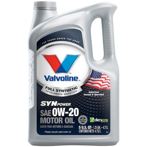 6. Valvoline 0W-20 SynPower Full Synthetic Motor Oil - 5qt (813460)