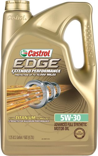 2. Castrol 03087 EDGE Extended Performance 5W-30 Full Synthetic Motor Oil, 5 Quart