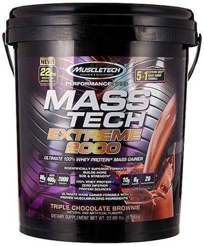 8. MuscleTech Mass Tech Extreme Triple Chocolate Brownie Weight Gainer, 22 Pound