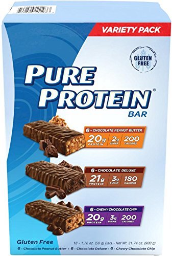 1. Pure Protein Bar Variety Pack (6 Chocolate Peanut Butter, 6 Chewy Chocolate Chip, 6 Chocolate Deluxe), (18 Count of 1.76 Oz bars) from Pure Protein
