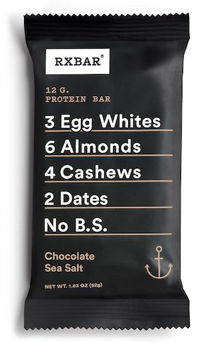 7. RXBAR Whole Food Protein Bar, Chocolate Sea Salt, 1.83 Ounce (Pack of 12)