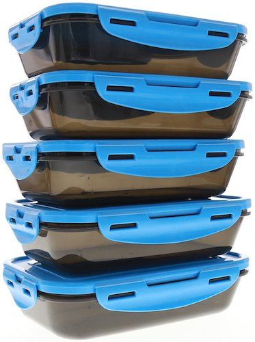 6. 6 Pack Fitness Sure Seal Containers 24oz Black/Neon Blue Set of 5