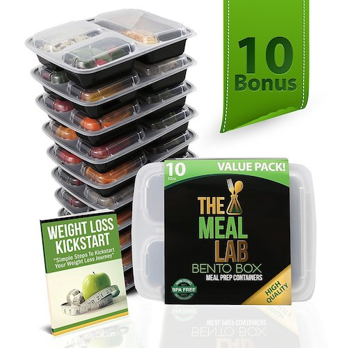 8. Meal Prep Containers 3 Compartment Food Storage Container with Lids - BPA FREE Stackable, Reusable, Microwave, Dishwasher & Freezer Safe Bento Lunch Box - Divided Plates for 21 Day Fix Portion Control