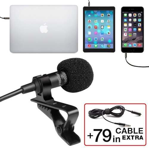 1. Professional grade Lavalier Lapel Microphone- Omni directional Mic with Easy Clip On system- perfect for Recording YouTube /Interview/ Video /Conference/ Podcast/Voice Dictation /iPhone