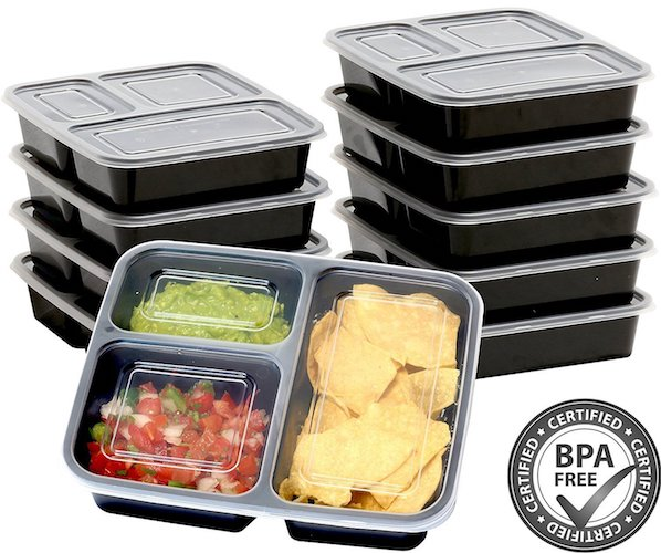 3. 10 Pack - SimpleHouseware 3 Compartment Food Grade Meal Prep Storage Container Boxes (36 ounces)