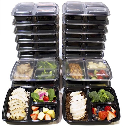 9. [20 Pack] 3 Compartment Meal Prep Containers BPA Free Portion Control Bento Boxes (39 Oz.)