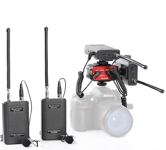 6. Saramonic Dual Wireless VHF Lavalier Microphone Bundle with two transmitters, two receivers and Audio Mixer for DSLR Cameras