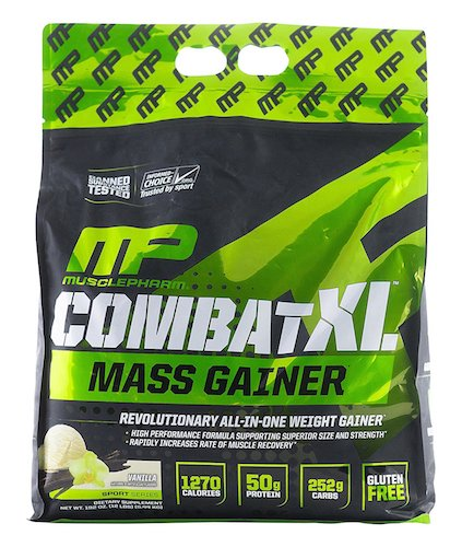 3. MusclePharm Combat XL Mass Gainer Powder, Vanilla, 12 Pound