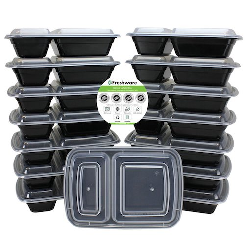 2. Freshware 15-Pack 2 Compartment Bento Lunch Boxes with Lids - Stackable, Reusable, Microwave, Dishwasher & Freezer Safe - Meal Prep, Portion Control, 21 Day Fix & Food Storage Containers (25oz)