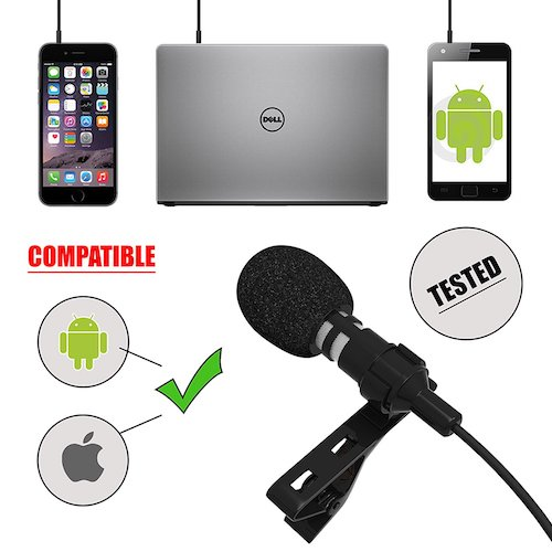 7. Professional Lavalier Lapel Microphone for Apple iPhone, iPad, Android Smartphones, Tablets. Precision Sound Voice Recorder with Clip-On Omni-directional Condenser mic FREE BONUS