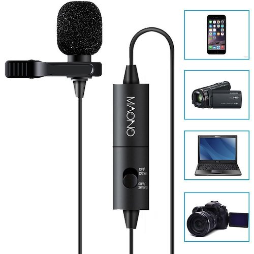 2. MAONO Lavalier Microphone, Hands-Free Clip-on Lapel Mic with Omni-directional Condenser for Camera, DSLR, iPhone, Android, Samsung, Sony, PC, Laptop (236 in)