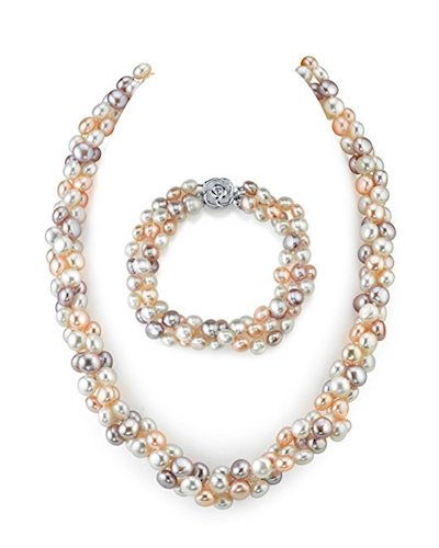 9. Multicolored Pearl Necklace and Bracelet