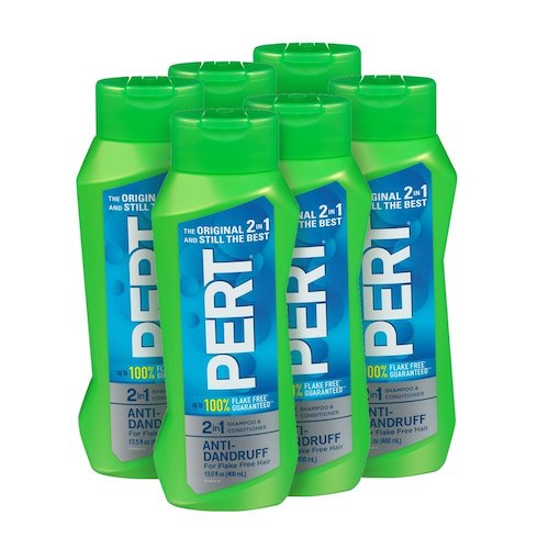 Best Anti-Dandruff Shampoos: 9. Pert Anti-Dandruff 2-in-1 Shampoo and Conditioner –pack of six (13.5 Ounce)