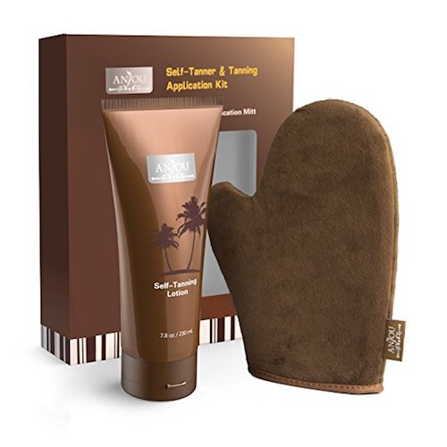 3. Self Tanner & Tanning Application Kit, Bundle of Dye-Free Natural Sunless Tanning Lotion, Application Mitt with Thumb, Body and Face Applicator Glove