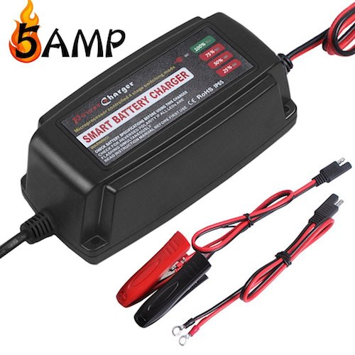 4. LST 12V 5AMP Vehicle Battery Charger Maintainer Smart Fast Waterproof with 4 Stage Charging for All Types of ATV Lawn Mower Motorcycle Automotive Marine RV AGM Gel cell Batteries