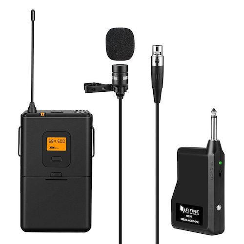 3. Fifine 25-Channel UHF Wireless Lavalier Lapel Microphone System with Bodypack Transmitter, Mini XLR Female Lapel Mic and Portable Receiver, ¼ inch Output. Perfect for Live Performance