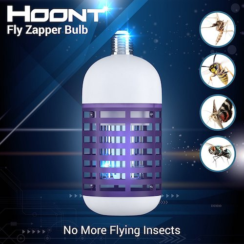 Best Fly Killers For Indoors And Outdoors: 6. Hoont Powerful Electronic Indoor Bug Zapper Bulb – Fits All Standard Bulb Sockets - Covers 500 Sq. Ft. / Fly Killer, Insect Killer, Mosquito Killer – For Residential, Commercial and Industrial Use