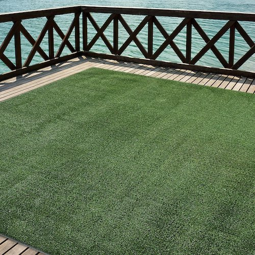 6. iCustomRug Outdoor Turf Rug in Green Artificial Grass In 6' X 13' And Many Other Sizes Available