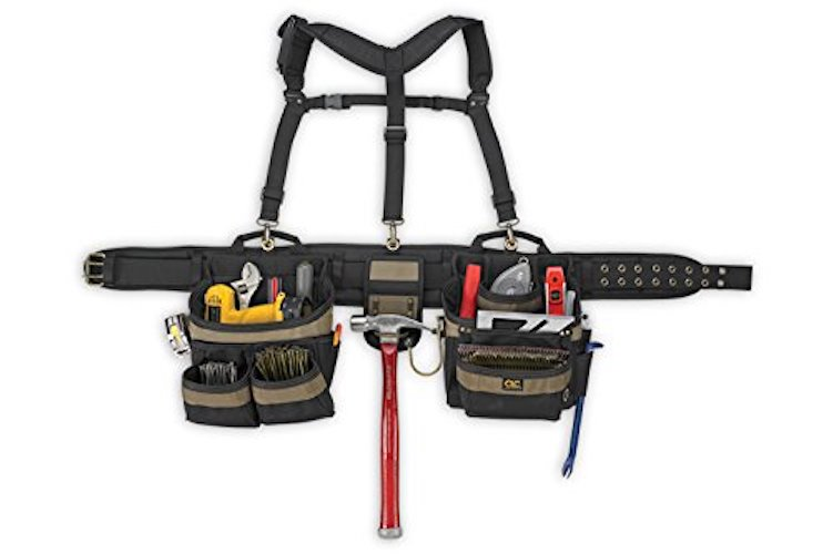 Most Comfortable Tool Belts: 1. Custom LeatherCraft 6714 31 Pocket, Heavy Duty Framers 5-Piece Comfort-lift Combo Tool Belt Apron