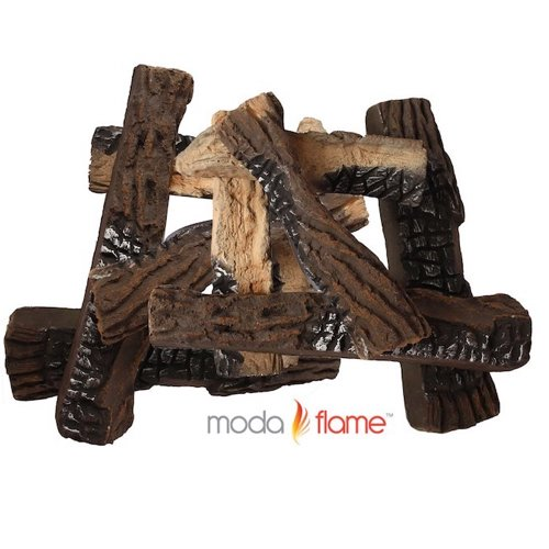 5. Moda Flame 10 Piece Large Ceramic Wood Set of Fireplace Logs For All Types of Ventless, Vent-Free