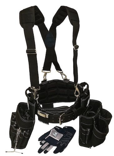 Most Comfortable Tool Belts: 2. Gatorback Electricians Combo Deluxe Package (Tool Belt, Suspenders, Gloves, Bucket Tote) Ventilated Back Support Belt w/ Suspenders and Extras. For Electricians, Carpenters, Framer