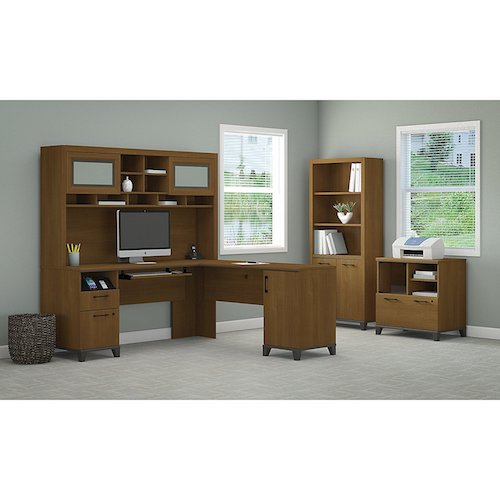 6. Achieve L-Shaped Desk with Hutch Bookcase And printer Stand File cabinet.