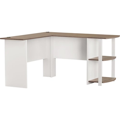 5. Large Modern White L-Shaped Desk