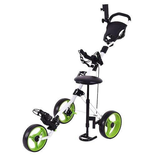 3: Tangkula Swivel 3 Wheel Push Pull Cart Golf Trolley