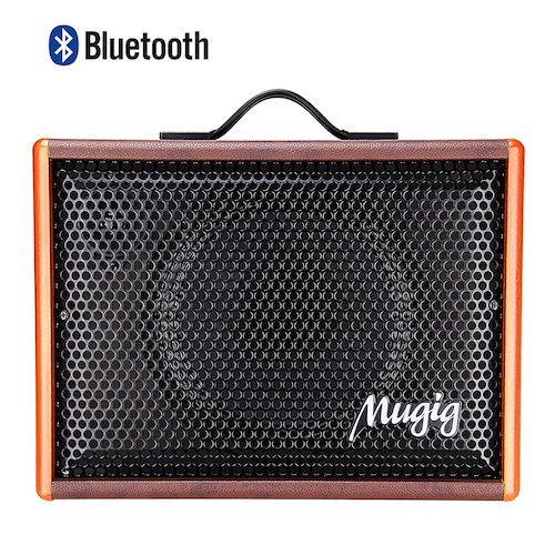 3. Mugig Guitar Speaker for Acoustic Guitar and Ukulele, Vocals Amplifier BM25, Portable Charger Outdoor Playing and Singing Bluetooth Speaker