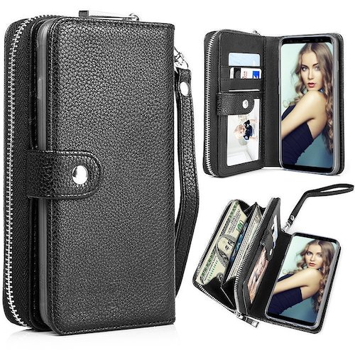 5. Galaxy Note 8 Case, Note 8 Wallet Case, Pasonomi Magnetic Detachable Removable Wallet Zipper PU Leather Folio Flip Carrying Case with Strap and Credit Card Slot for Samsung Galaxy Note 8 2017 (Black)